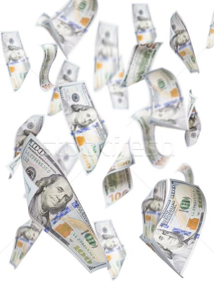 Vallen een honderd witte geïsoleerd Stockfoto © feverpitch