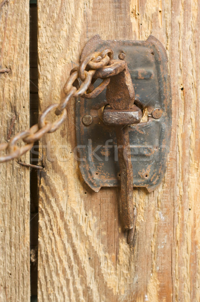Rusty Barn Door Latch and Chain Stock photo © feverpitch