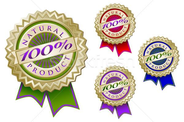 Establecer cuatro colorido 100 naturales producto Foto stock © feverpitch