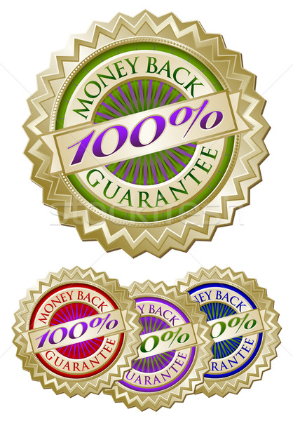 Set of Four 100% Money Back Guarantee Emblem Seals Stock photo © feverpitch