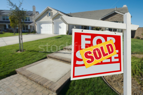 Stock fotó: Eladva · otthon · vásár · felirat · ház · új · ház
