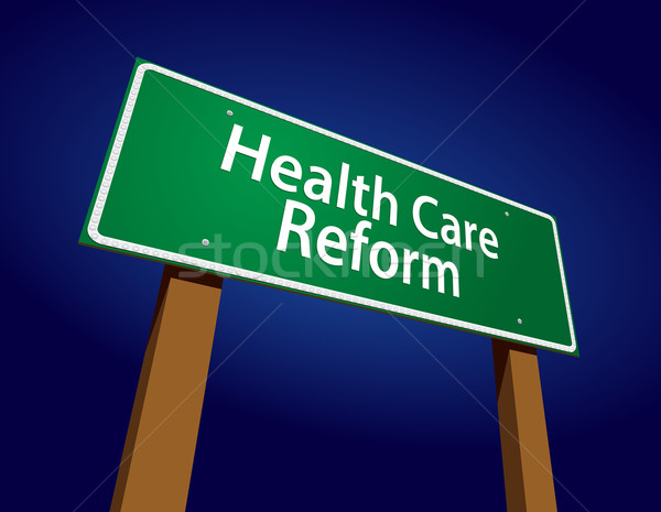 Health Care Reform Green Road Sign Vector Illustration Stock photo © feverpitch