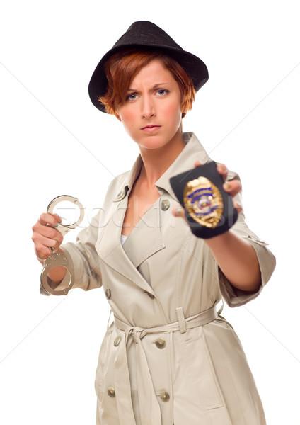 Czerwony kobiet detektyw kajdanki odznakę odizolowany Zdjęcia stock © feverpitch