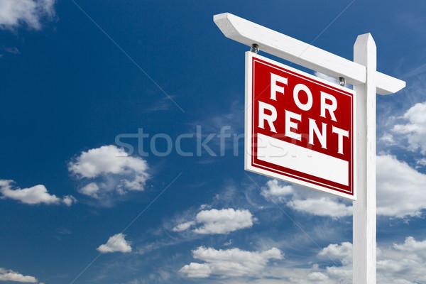 Szemben bérlés ingatlan felirat kék ég felhők Stock fotó © feverpitch