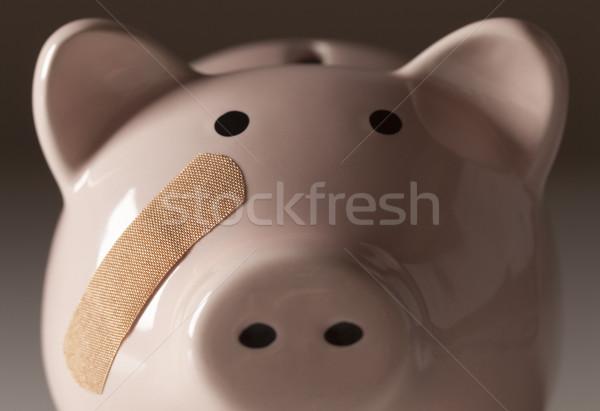 Piggy Bank повязка лице медицина Финансы розовый Сток-фото © feverpitch