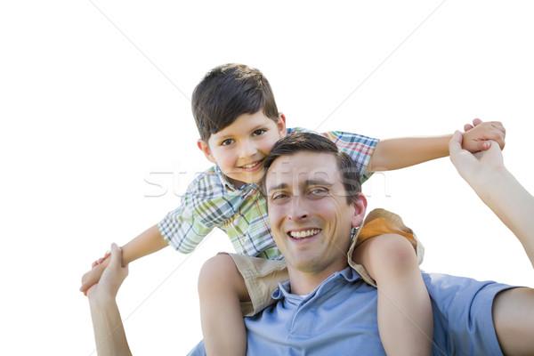 Apa fia játszik háton fehér izolált család Stock fotó © feverpitch