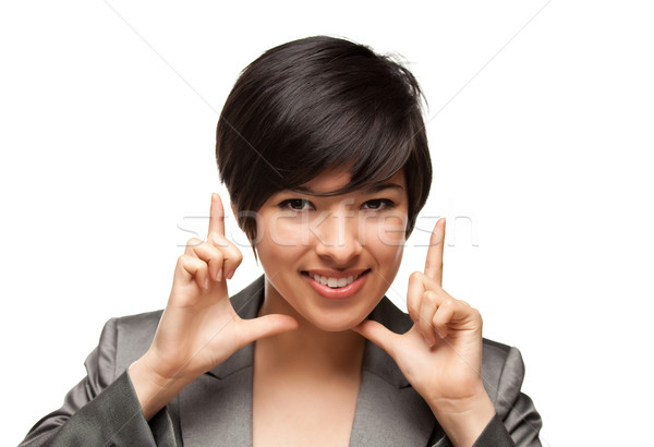 Pretty Smiling Multiethnic Young Adult Woman Framing Face with H Stock photo © feverpitch