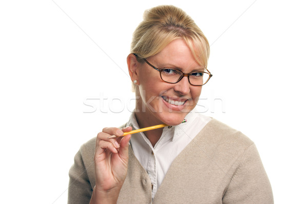 Beautiful Woman with Pencil  Stock photo © feverpitch