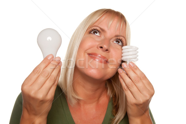 Gülümseyen kadın enerji düzenli ampuller yalıtılmış Stok fotoğraf © feverpitch