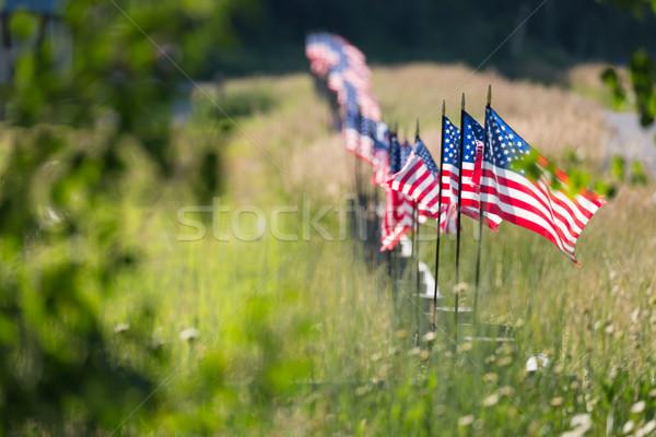 アメリカン フラグ フェンス 長い ストックフォト © feverpitch