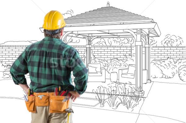 Beszállító áll néz belső udvar terv rajz Stock fotó © feverpitch