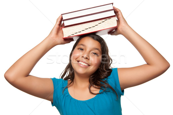 Pretty Hispanic Girl with Books on Her Head Stock photo © feverpitch