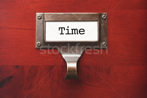 Lustrous Wooden Cabinet with Time File Label Stock photo © feverpitch