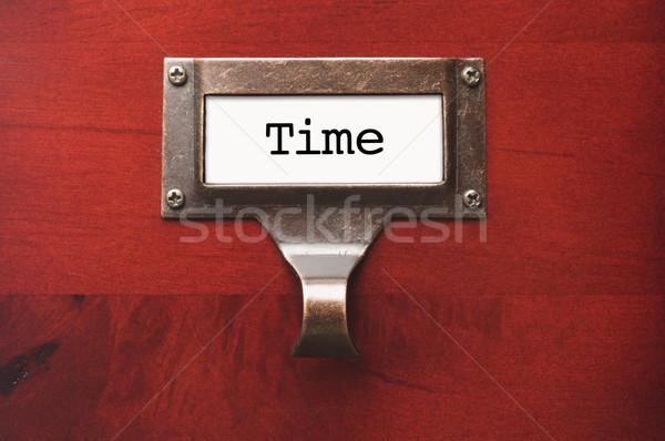 Stock fotó: Fából · készült · faliszekrény · idő · akta · címke · drámai