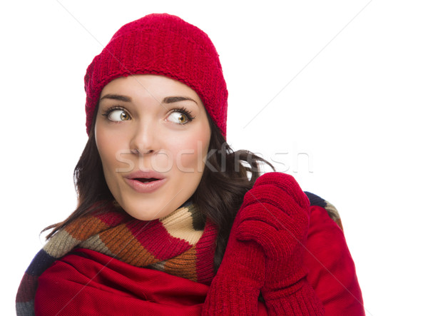 Mixed Race Woman Wearing Mittens and Hat Looks to Side Stock photo © feverpitch