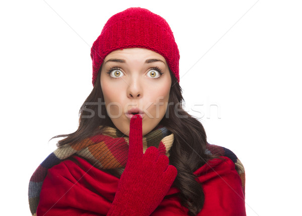 Wide Eyed Mixed Race Woman Wearing Winter Hat and Gloves  Stock photo © feverpitch