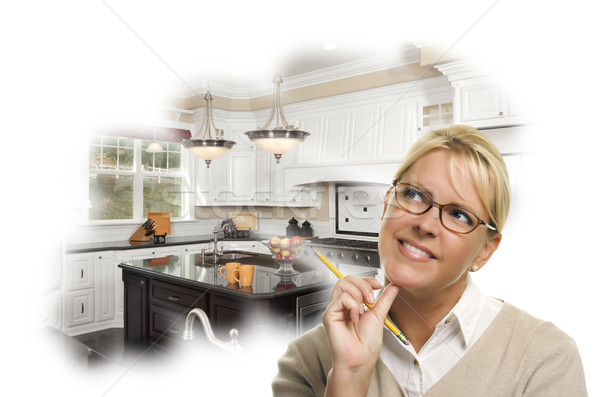 álmodozás nő ceruza vám konyha fotó Stock fotó © feverpitch