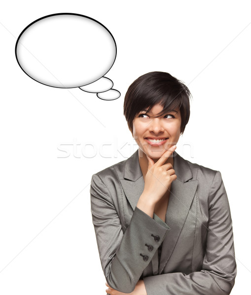 Beautiful Multiethnic Woman with Blank Thought Bubbles and Clipp Stock photo © feverpitch