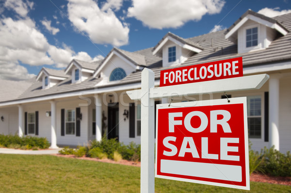 Stock photo: Foreclosure Real Estate Sign and House - Right