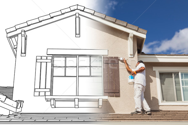 Split Screen of Drawing and Photo of House Painter Painting Home Stock photo © feverpitch