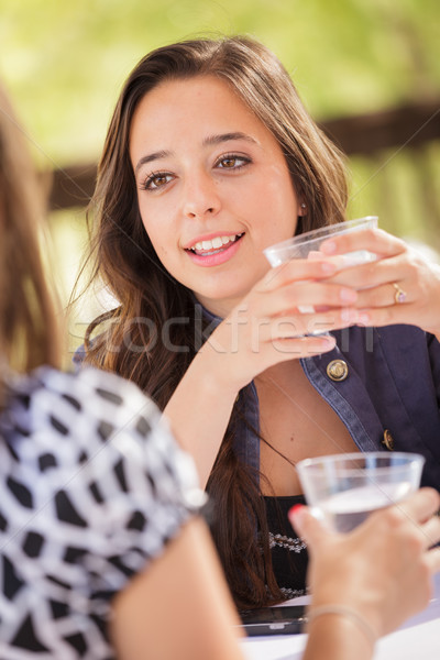 Expressive Young Adult Woman Having Drinks and Talking with Her  Stock photo © feverpitch