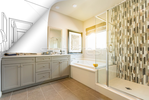 Master Bathroom Photo Page Corner Flipping with Drawing Behind Stock photo © feverpitch