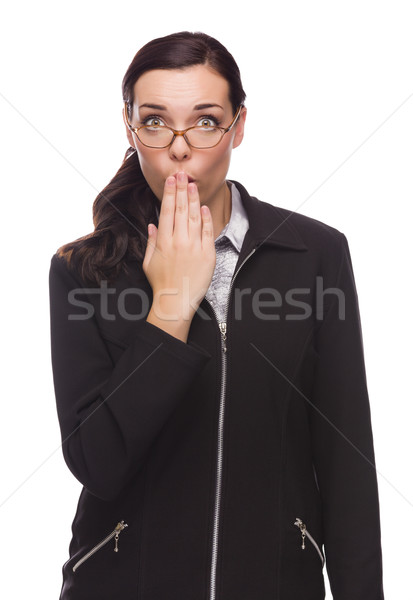 Stock photo: Surprised Mixed Race Businesswoman Puts Hand Over Her Lips