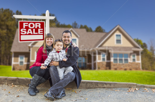 Mixed Race Family, Home, For Sale Real Estate Sign Stock photo © feverpitch