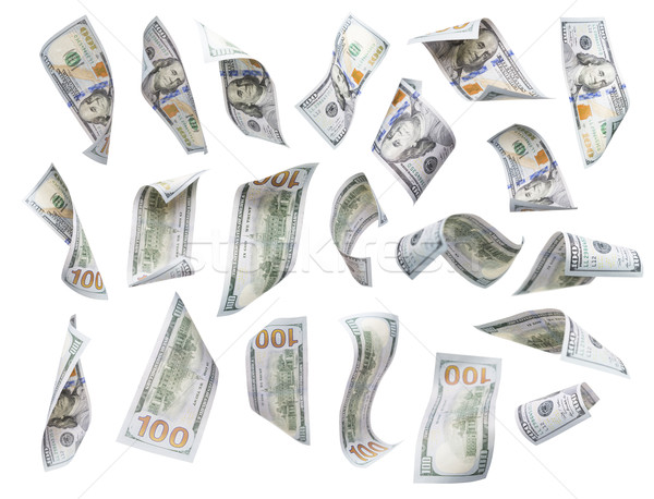 Set of Falling or Floating $100 Bills Each Isolated Stock photo © feverpitch