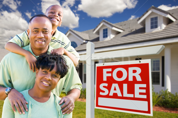 African American Family with For Sale Sign and House Stock photo © feverpitch