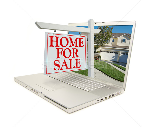 Home for Sale Sign & New Home on Laptop Stock photo © feverpitch
