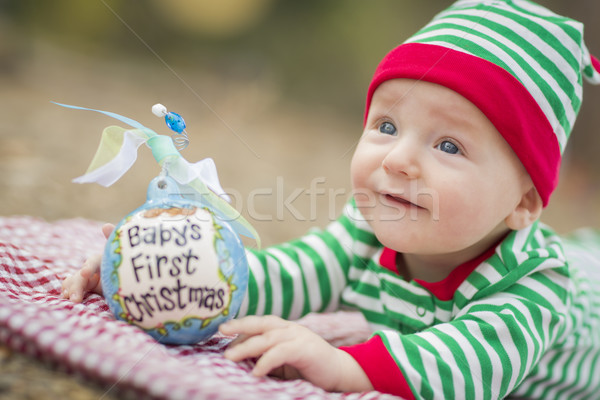 Infant Baby On Blanket With Babys First Christmas Ornament Stock photo © feverpitch