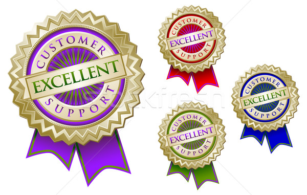 Set of Four Colorful Excellent Customer Support Emblem Seals Wit Stock photo © feverpitch