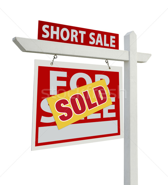 Sold Short Sale Real Estate Sign Isolated - Left Stock photo © feverpitch