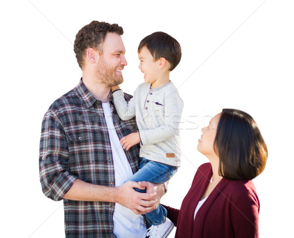 Young Mixed Race Caucasian and Chinese Family Isolated in a Whit Stock photo © feverpitch