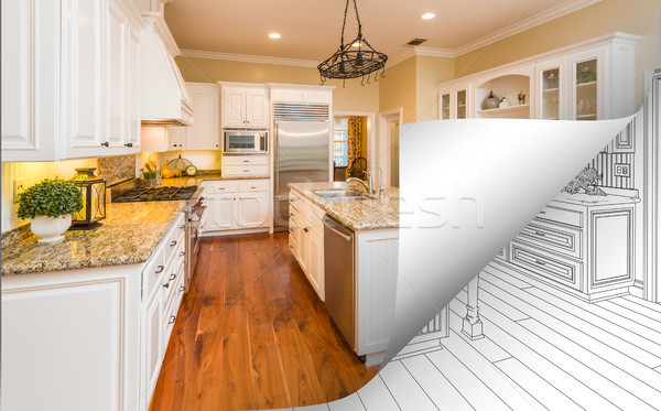 Kitchen Photo Page Corner Flipping with Drawing Behind Stock photo © feverpitch