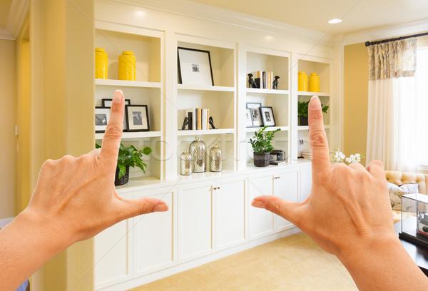 Handen gewoonte muur ontwerp binnenkant Stockfoto © feverpitch