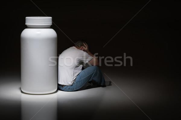 Man hoofd vergadering fles Stockfoto © feverpitch