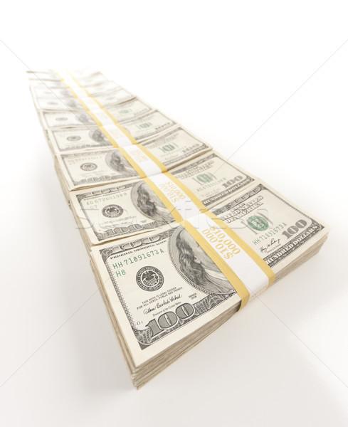 Fading Row of Hundred Dollar Bills Stacks Stock photo © feverpitch