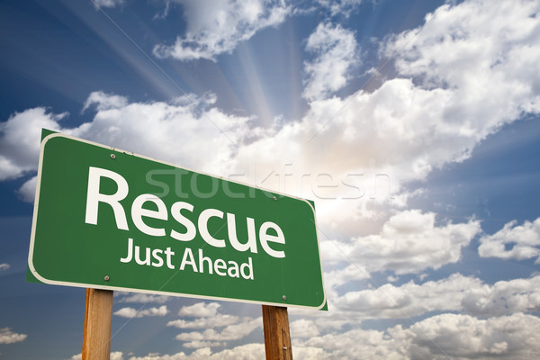 Stock photo: Rescue Green Road Sign