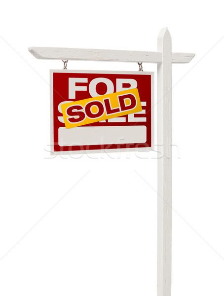 Stockfoto: Uitverkocht · verkoop · onroerend · teken · geïsoleerd