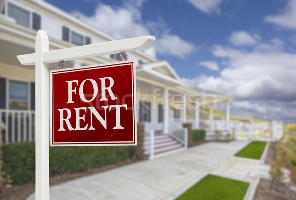 Huren onroerend teken huis Rood mooie Stockfoto © feverpitch