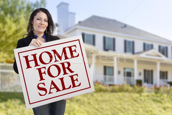 Nő tart otthon vásár felirat ház Stock fotó © feverpitch