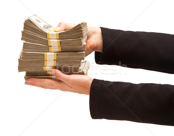 Woman Handing Over Hundreds of Dollars Stock photo © feverpitch