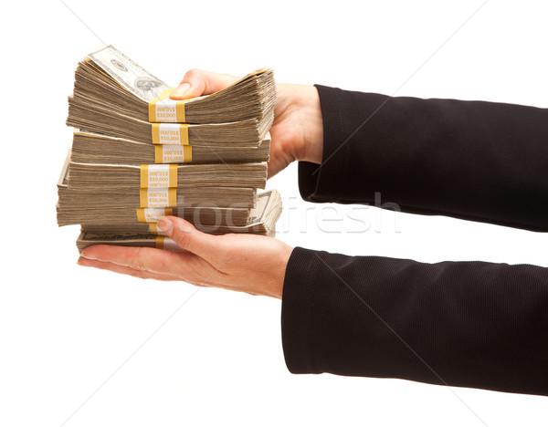 Nő dollár izolált fehér pénz női Stock fotó © feverpitch