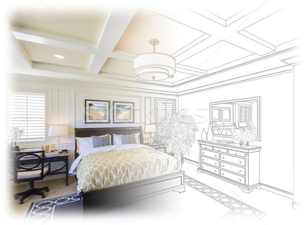 Custom Bedroom Drawing Gradation Into Photograph. Stock photo © feverpitch
