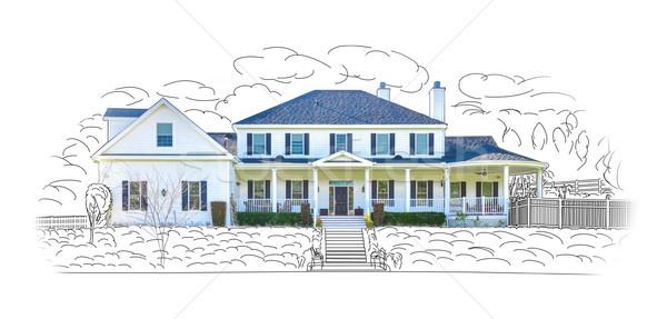 Ev çizim fotoğraf kombinasyon yalıtılmış beyaz Stok fotoğraf © feverpitch