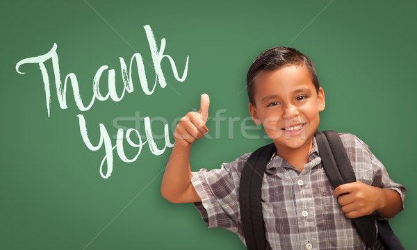 Hispanic Boy with Thumbs Up in Front of Chalk Board with Thank Y Stock photo © feverpitch