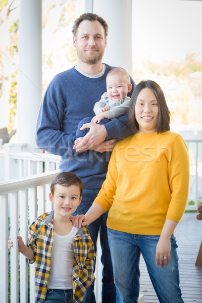 Young Mixed Race Chinese and Caucasian Family Portrait Stock photo © feverpitch