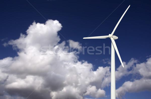 éolienne dramatique ciel nuages ciel bleu paysage Photo stock © feverpitch